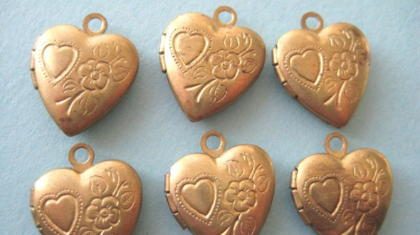 Vintage Antique Brass Heart Charms