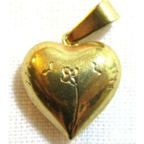 Vintage Brass Puffy Heart Charm