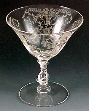 Vintage Etched Crystal Wine Glass
