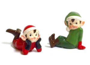 Retro Vintage Style Christmas Elf Figurines-Red and Green-Set of Two