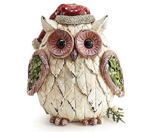Christmas Owl Figurine with Santa Hat Adorable Holiday Decor