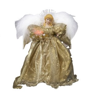 Kurt Adler 12-Inch Fiber Optic Gold Angel Tree Topper