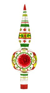 "RADKO Shiny Brite Holiday Splendor 9.5"" Finial Tree Top Glass Ornament"