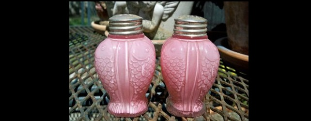 Vintage Pink Glass Salt and Pepper