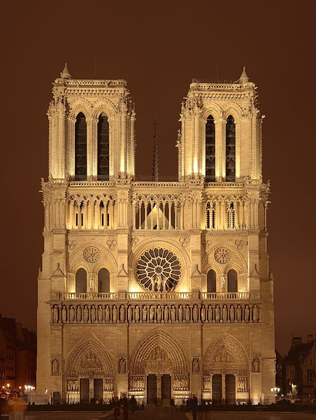 A night sight of the west facade of Notre Dame de Paris cathedral on the Île de la Cité island in Paris, France. Source: By Sanchezn (Own work) GFDL or CC-BY-SA-3.0-2.5-2.0-1.0, Wikimedia Commons