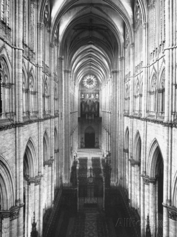 Amiens Cathedral Showing High Vaulted Arches, Rose Window in Distance, Sublime Gothic Expression