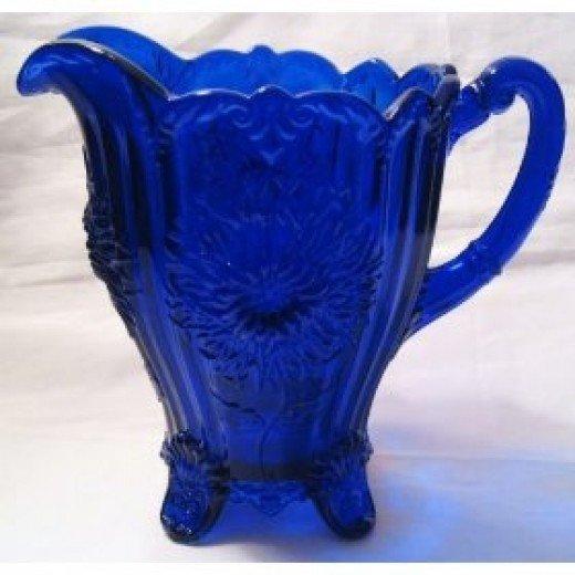 Antique Cobalt Blue Glass Pitcher