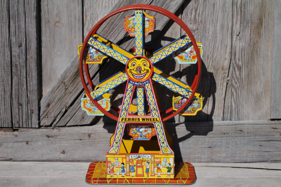 Vintage J. Chein Toy Ride the Rocket | Ferris Wheel | Merry Go Round | Roller Coaster