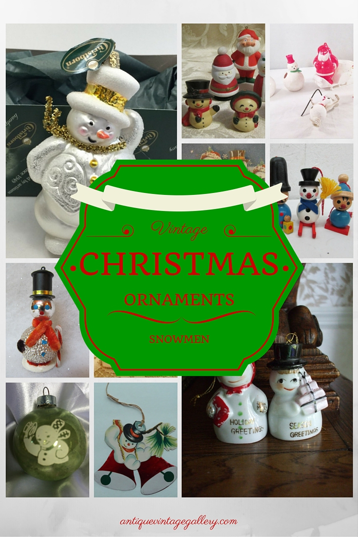 Vintage Christmas Ornaments Snowmen