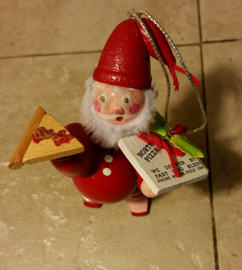 Vintage Santa Delivering Pizza Ornament