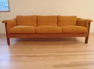 Mid Century Modern Danish Teak Low Profile Scandinavian 3 Seat Orange Sofa
