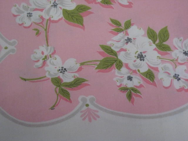 Vintage Easter Tablecloth Dogwoods on Pink
