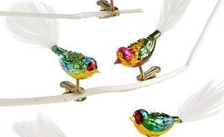 GLASS MULTI CLIP-ON BIRDS W/FEATHER TAIL 5PC. - Christmas Ornament